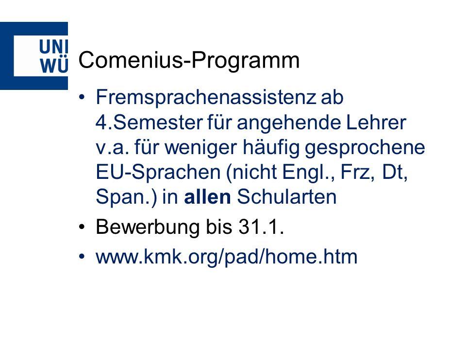 Comenius-Programm Fremsprachenassistenz ab 4.Semester für angehende Lehrer v.a.