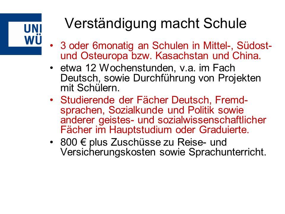 Verständigung macht Schule 3 oder 6monatig an Schulen in Mittel-, Südost- und Osteuropa bzw.