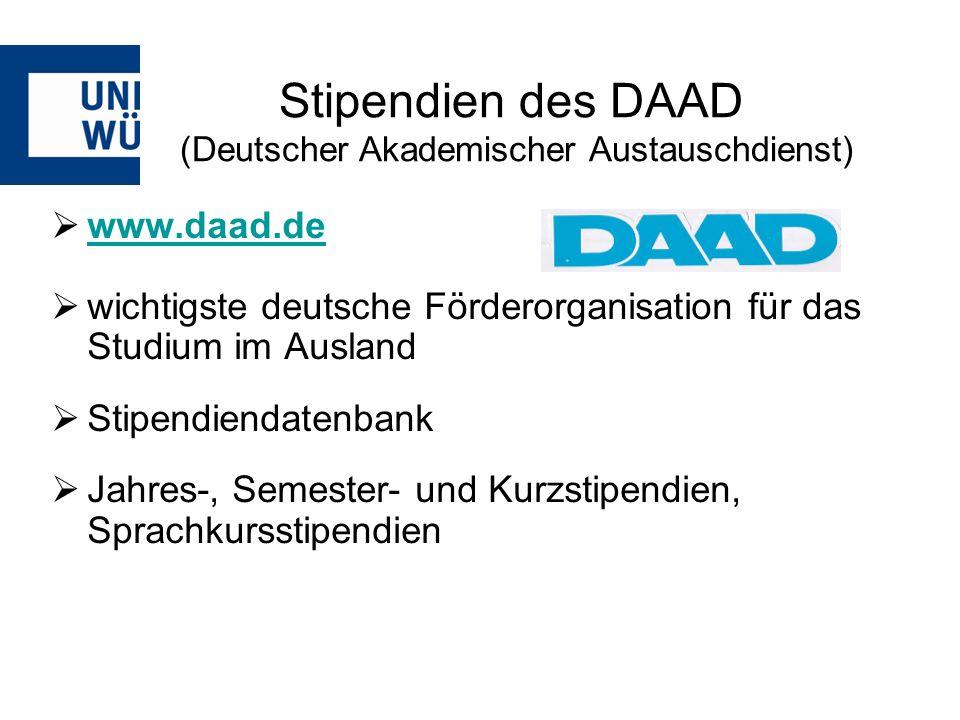 www.daad.de wichtigste deutsche Förderorganisation für das Studium im Ausland Stipendiendatenbank Jahres-, Semester- und Kurzstipendien, Sprachkursstipendien Stipendien des DAAD (Deutscher Akademischer Austauschdienst)