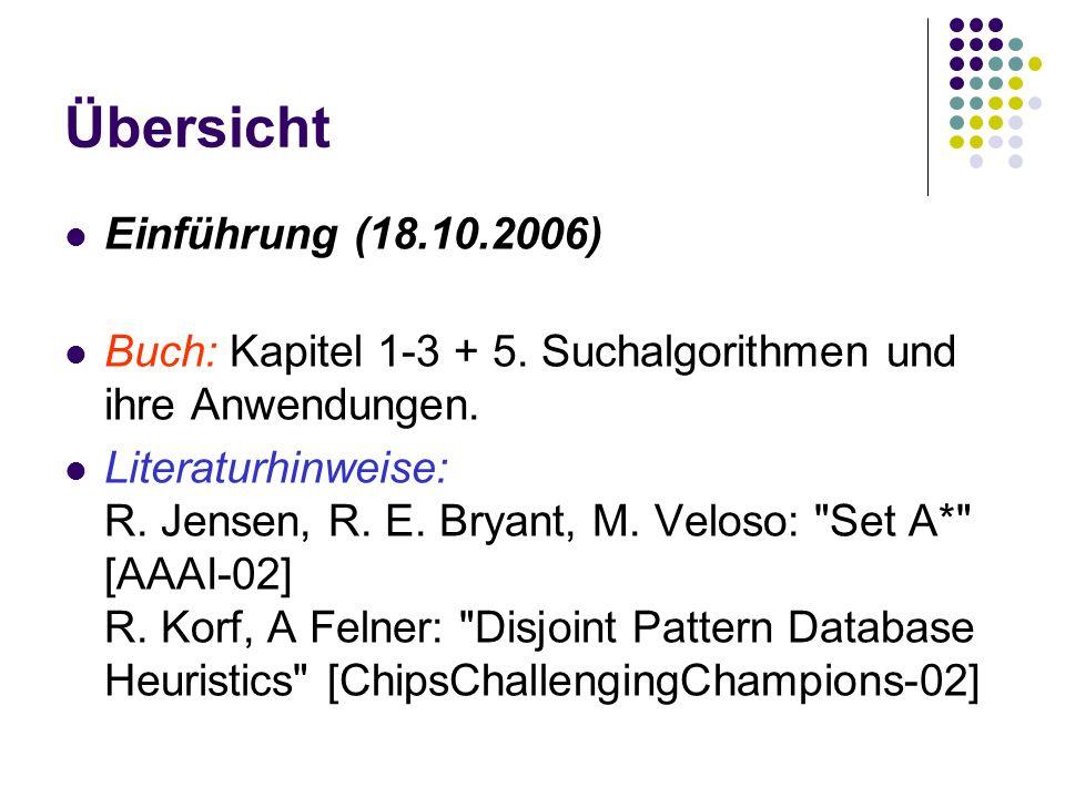 Übersicht Einführung (18.10.2006) Buch: Kapitel 1-3 + 5.