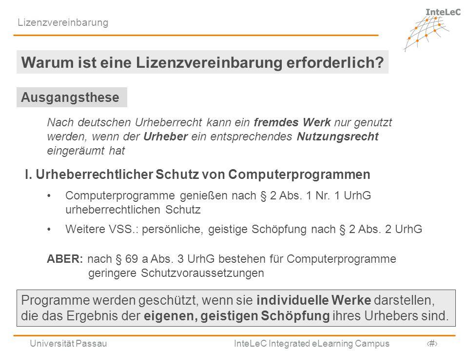 Universität Passau InteLeC Integrated eLearning Campus 3 Lizenzvereinbarung Warum ist eine Lizenzvereinbarung erforderlich? Nach deutschen Urheberrech
