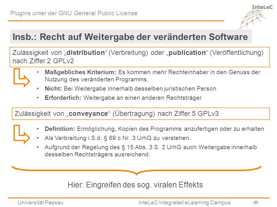 Universität Passau InteLeC Integrated eLearning Campus 8 Plugins unter der GNU General Public License Insb.: Recht auf Weitergabe der veränderten Soft