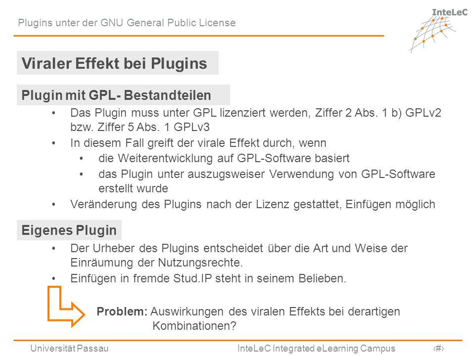 Universität Passau InteLeC Integrated eLearning Campus 9 Plugins unter der GNU General Public License Viraler Effekt bei Plugins Plugin mit GPL- Besta