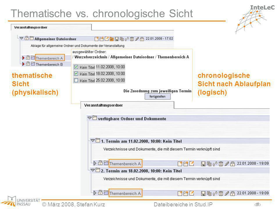 © März 2008, Stefan KurzDateibereiche in Stud.IP17 Thematische vs. chronologische Sicht thematische Sicht (physikalisch) chronologische Sicht nach Abl