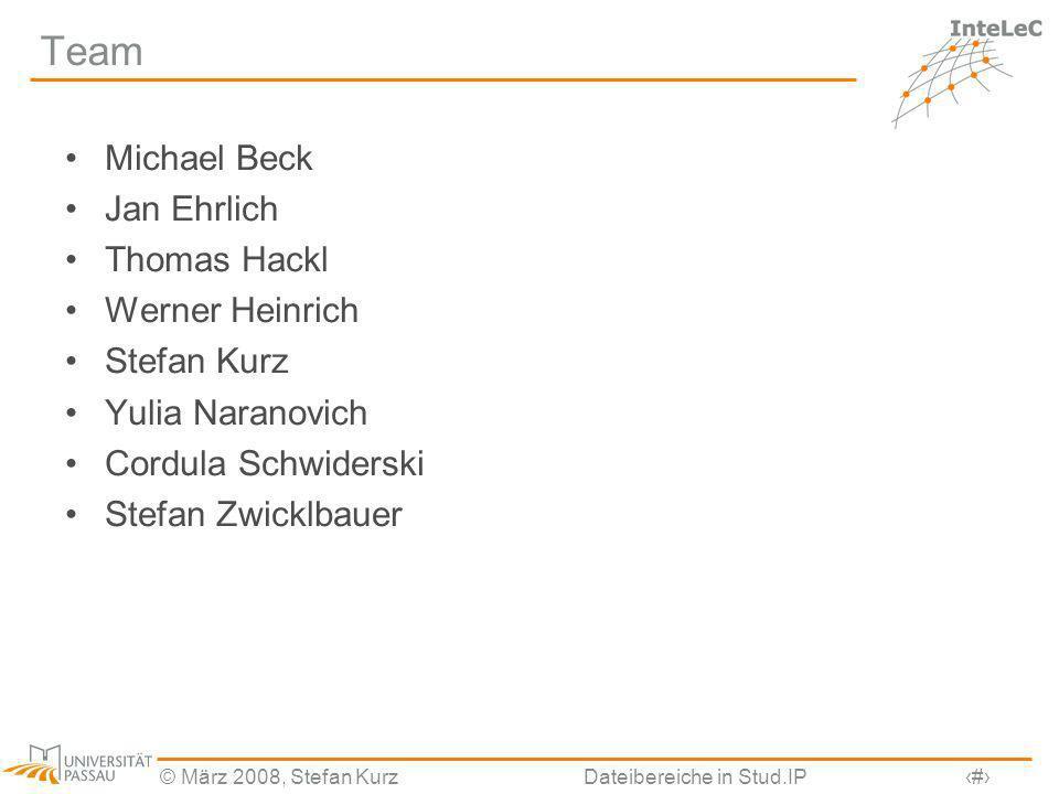 © März 2008, Stefan KurzDateibereiche in Stud.IP28 Team Michael Beck Jan Ehrlich Thomas Hackl Werner Heinrich Stefan Kurz Yulia Naranovich Cordula Sch