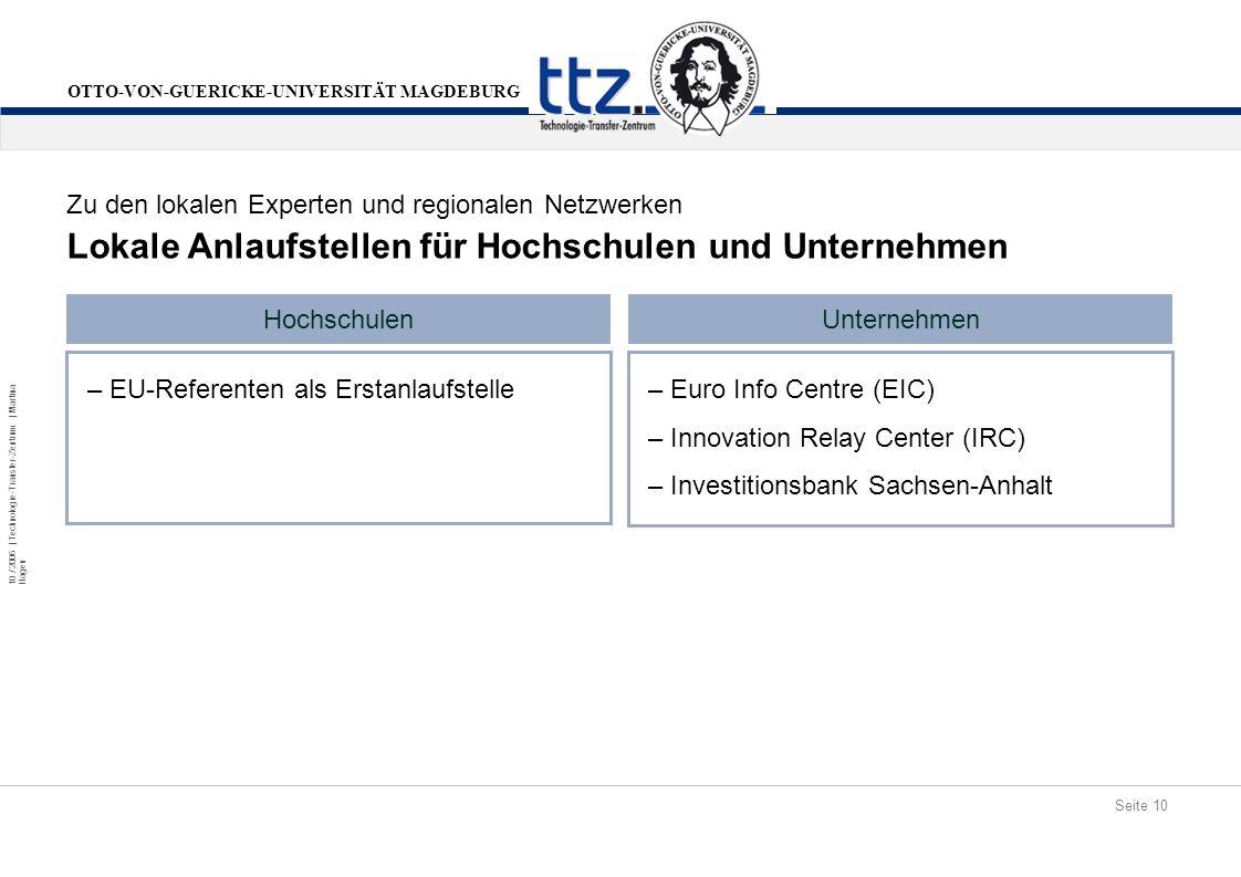 Seite 10 10 / 2006 | Technologie-Transfer-Zentrum | Martina Hagen OTTO-VON-GUERICKE-UNIVERSITÄT MAGDEBURG Lokale Anlaufstellen für Hochschulen und Unt