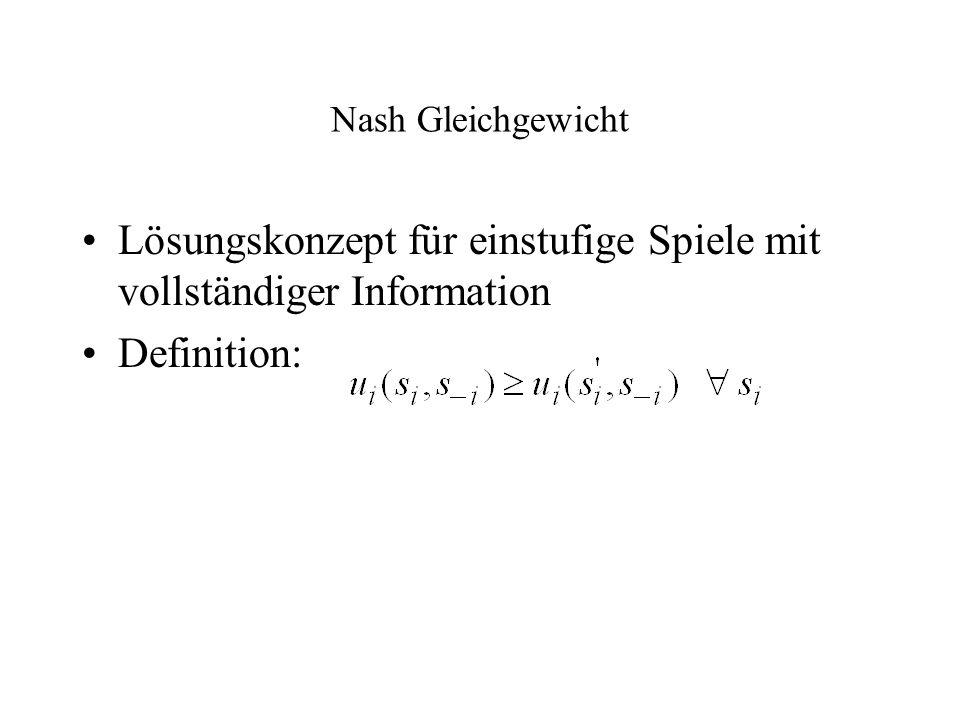 Nash Gleichgewicht Lösungskonzept für einstufige Spiele mit vollständiger Information Definition: