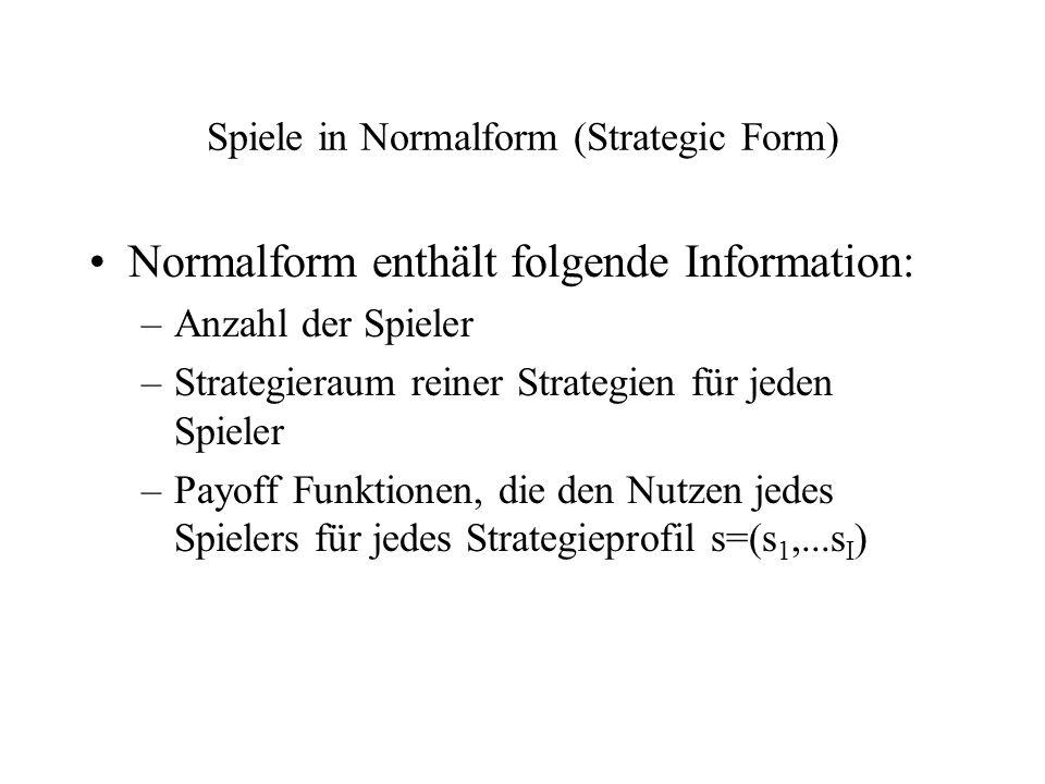 Spiele in Normalform (Strategic Form) Normalform enthält folgende Information: –Anzahl der Spieler –Strategieraum reiner Strategien für jeden Spieler