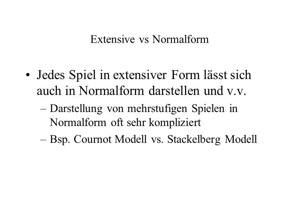Extensive vs Normalform Jedes Spiel in extensiver Form lässt sich auch in Normalform darstellen und v.v. –Darstellung von mehrstufigen Spielen in Norm