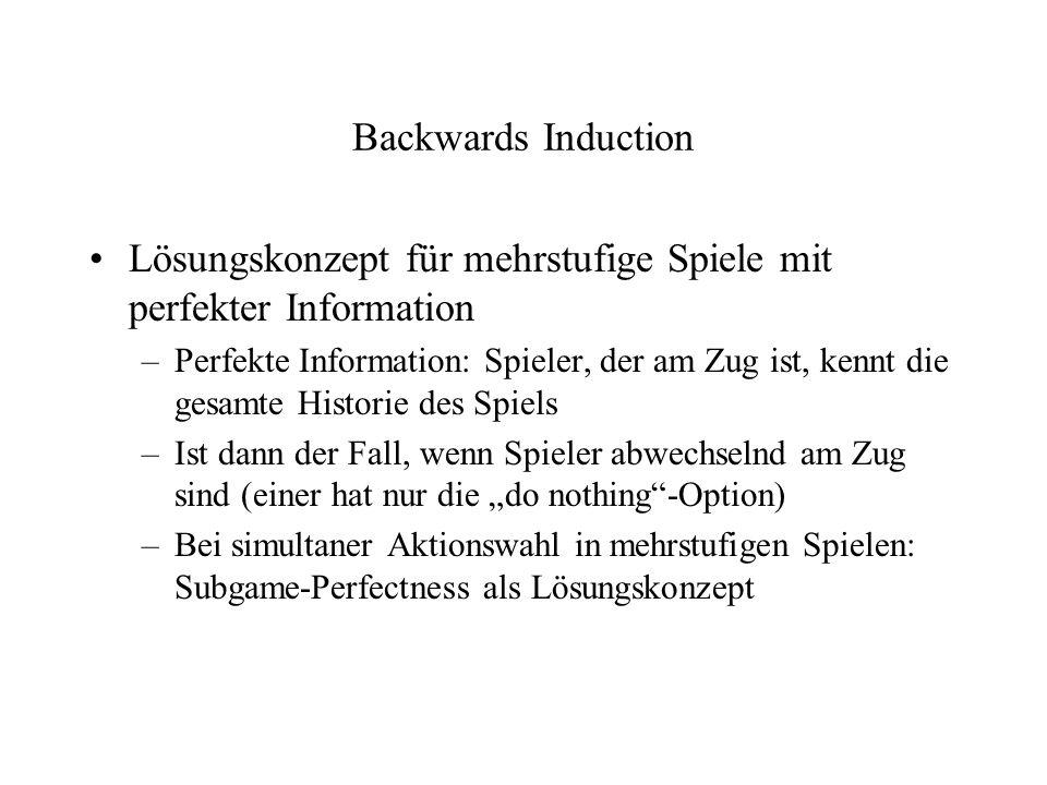 Backwards Induction Lösungskonzept für mehrstufige Spiele mit perfekter Information –Perfekte Information: Spieler, der am Zug ist, kennt die gesamte