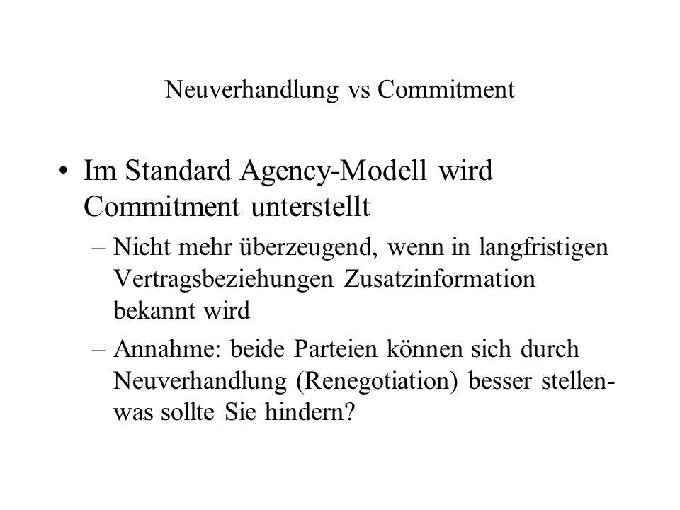 Neuverhandlung vs Commitment Im Standard Agency-Modell wird Commitment unterstellt –Nicht mehr überzeugend, wenn in langfristigen Vertragsbeziehungen