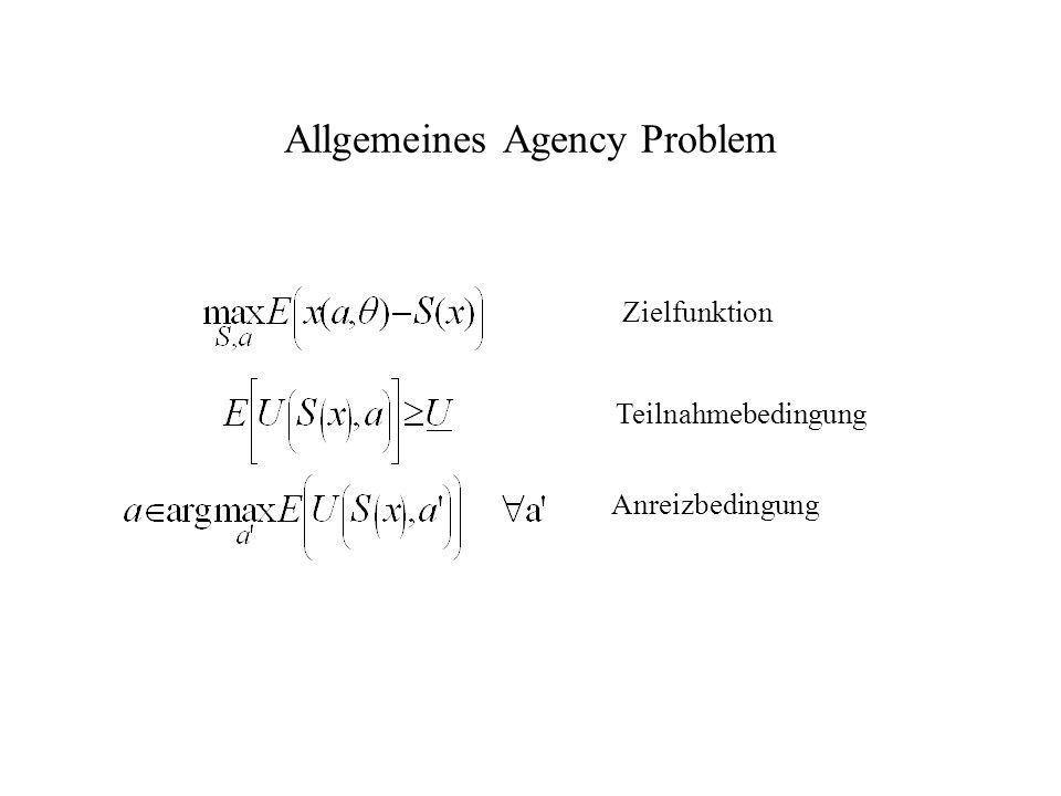 Allgemeines Agency Problem Zielfunktion Teilnahmebedingung Anreizbedingung