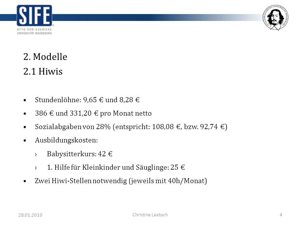 28.01.2010 Christine Laabsch4 2. Modelle 2.1 Hiwis Stundenlöhne: 9,65 und 8,28 386 und 331,20 pro Monat netto Sozialabgaben von 28% (entspricht: 108,0