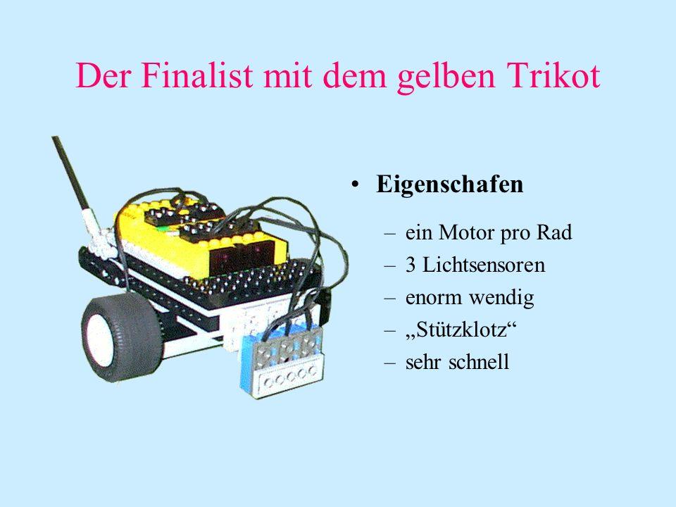 Der Finalist mit dem gelben Trikot Eigenschafen –ein Motor pro Rad –3 Lichtsensoren –enorm wendig –Stützklotz –sehr schnell