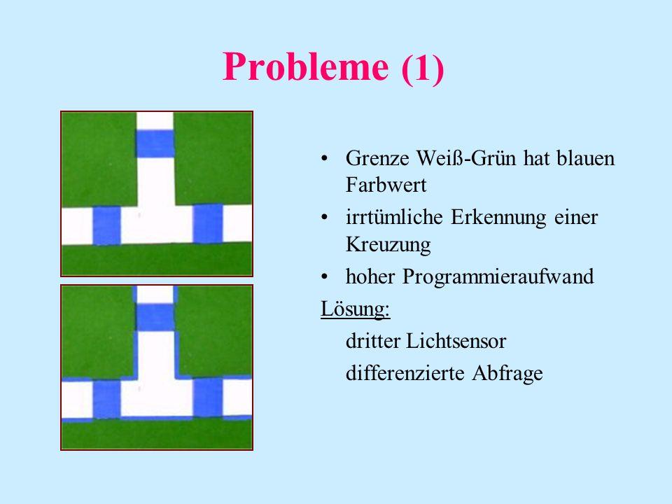 Probleme (1) Grenze Weiß-Grün hat blauen Farbwert irrtümliche Erkennung einer Kreuzung hoher Programmieraufwand Lösung: dritter Lichtsensor differenzierte Abfrage