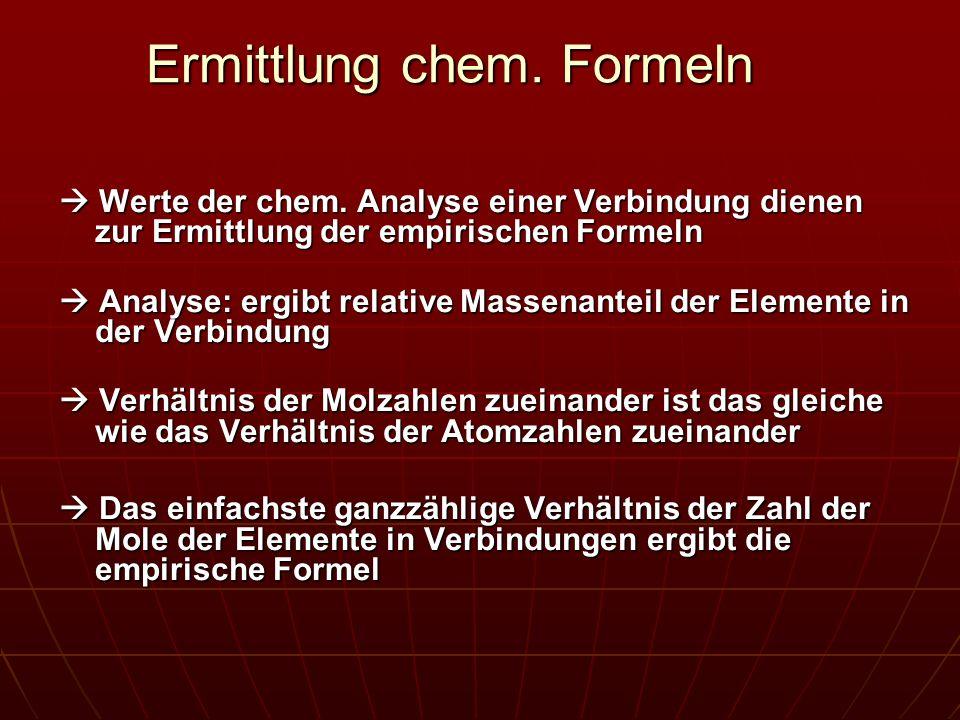 Ermittlung chem. Formeln Werte der chem. Analyse einer Verbindung dienen zur Ermittlung der empirischen Formeln Werte der chem. Analyse einer Verbindu