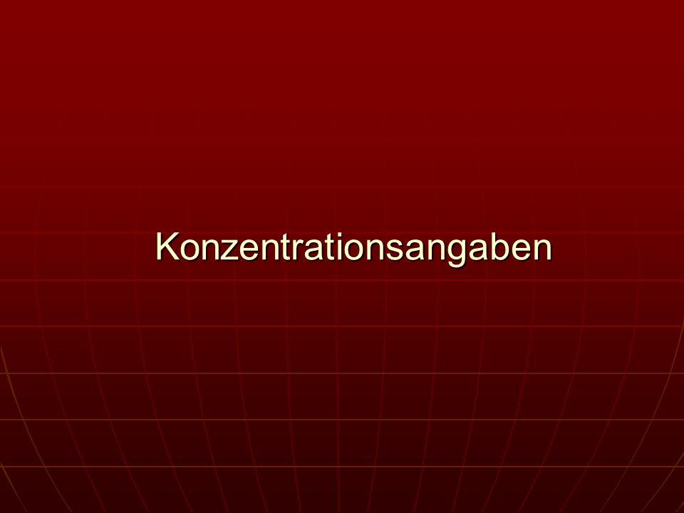 Äquivalentkonzentration (früher: Normalität) Die Äquivalentkonzentration N, (Formelzeichen: ceq), ist eine Konzentrationsangabe spezielle Stoffmengenkonzentration, bei der die zu Grunde gelegten Teilchen nicht ganze Atome, Moleküle oder Ionen, sondern gedachte Bruchteile 1/z solcher Teilchen sind.