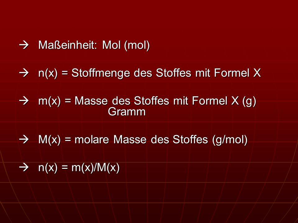 Maßeinheit: Mol (mol) Maßeinheit: Mol (mol) n(x) = Stoffmenge des Stoffes mit Formel X n(x) = Stoffmenge des Stoffes mit Formel X m(x) = Masse des Sto