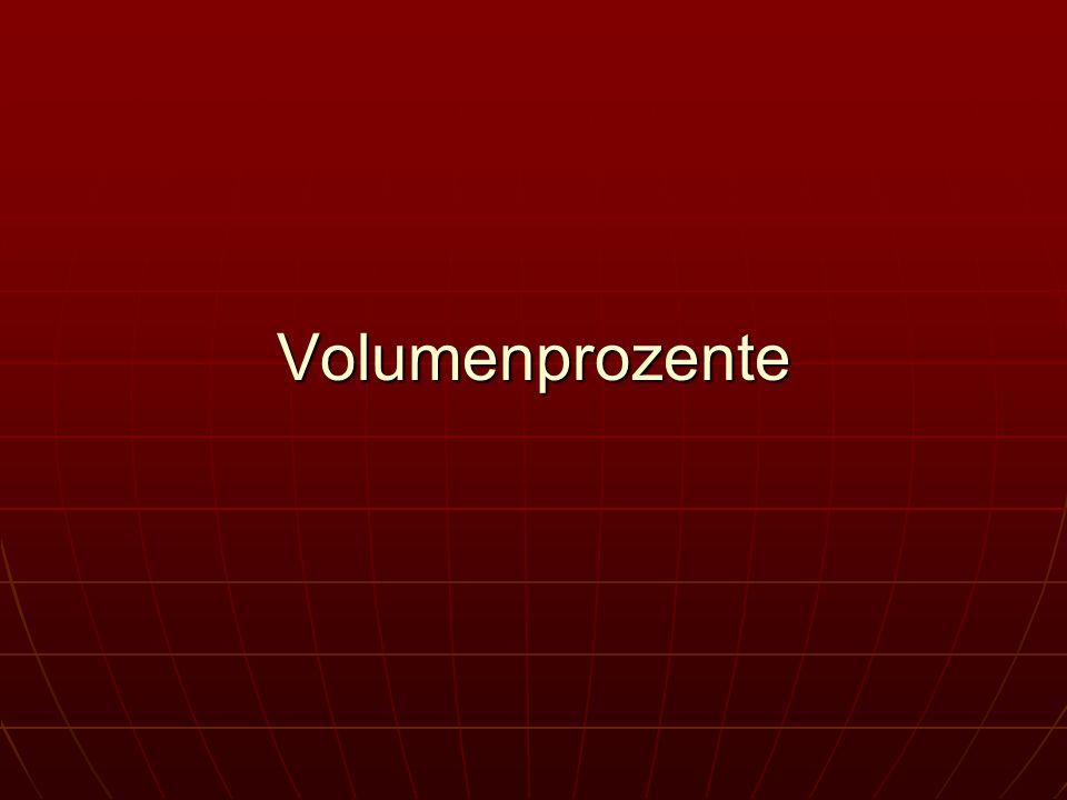 Die Stoffmenge n eines gelösten Stoffes in einer Lösung der Konzentration c1 und dem Volumen V1 ist: n = c1 * V1 Verdünnung von Lösungen: vergrößert sich ihr Volumen auf den neuen Wert V2 bleibt die darin gelöste Stoffmenge n jedoch unverändert c1 = n/V2 = c1 * V1/V2 Beispiel: Welches Volumen einer Lösung mit c1 (HCl) = 12,0 mol/L wird benötigt, um 500 m/L einer Lösung mit c2 (HCl) = 3,00 mol/ L herzustellen?