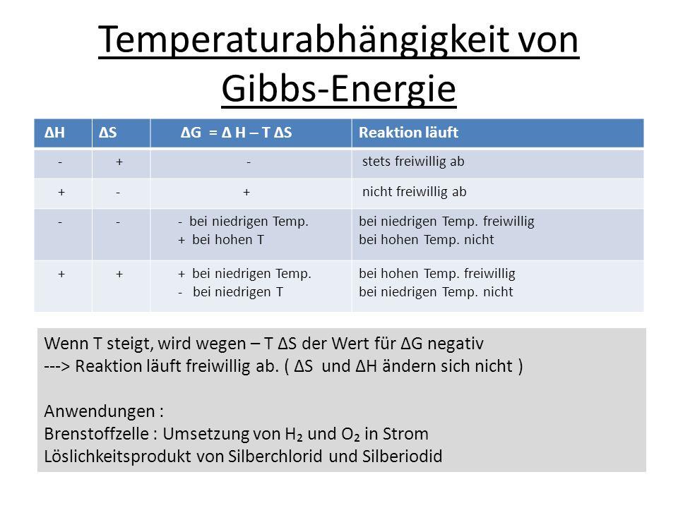 Temperaturabhängigkeit von Gibbs-Energie HS G = H – T SReaktion läuft - + - stets freiwillig ab + - + nicht freiwillig ab - - - bei niedrigen Temp. +