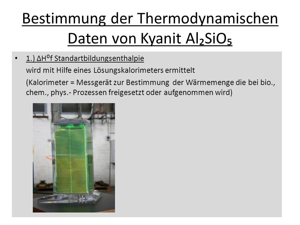 Bestimmung der Thermodynamischen Daten von Kyanit AlSiO 1.) Hf Standartbildungsenthalpie wird mit Hilfe eines Lösungskalorimeters ermittelt (Kalorimet