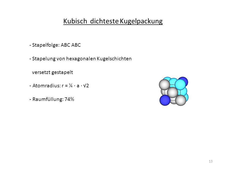 Kubisch dichteste Kugelpackung - Stapelfolge: ABC ABC - Stapelung von hexagonalen Kugelschichten versetzt gestapelt - Atomradius: r = ¼ a 2 - Raumfüllung: 74% 13