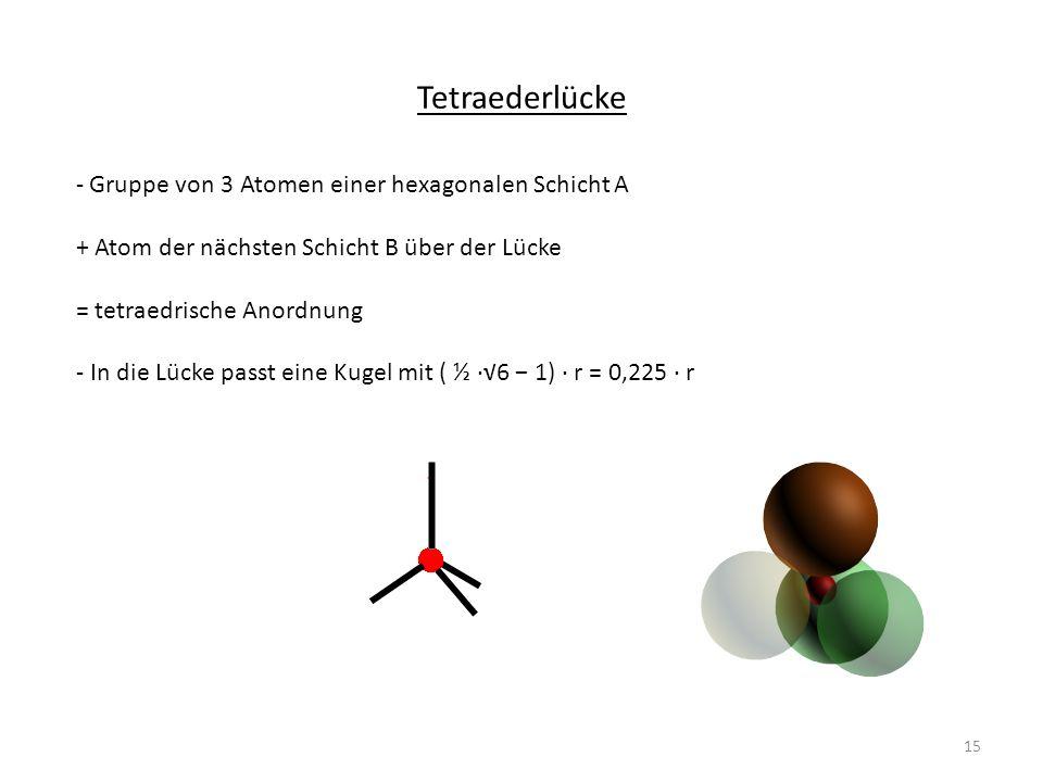 Tetraederlücke - Gruppe von 3 Atomen einer hexagonalen Schicht A + Atom der nächsten Schicht B über der Lücke = tetraedrische Anordnung - In die Lücke passt eine Kugel mit ( ½ 6 1) r = 0,225 r 15