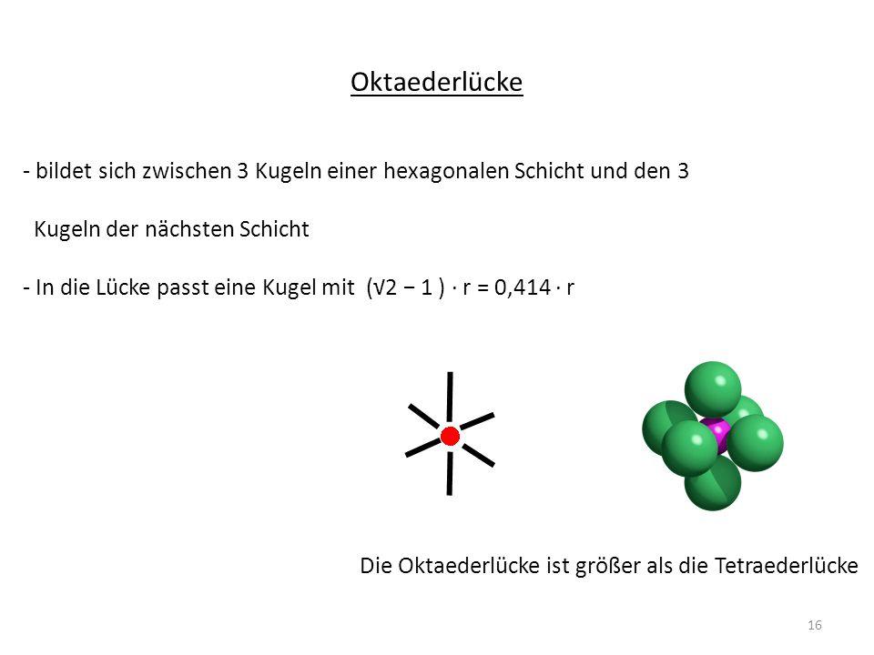 Oktaederlücke - bildet sich zwischen 3 Kugeln einer hexagonalen Schicht und den 3 Kugeln der nächsten Schicht - In die Lücke passt eine Kugel mit (2 1 ) r = 0,414 r Die Oktaederlücke ist größer als die Tetraederlücke 16