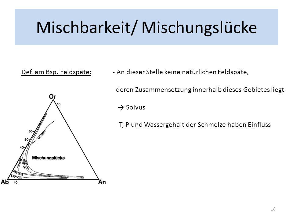 Mischbarkeit/ Mischungslücke Def. am Bsp. Feldspäte: - An dieser Stelle keine natürlichen Feldspäte, deren Zusammensetzung innerhalb dieses Gebietes l