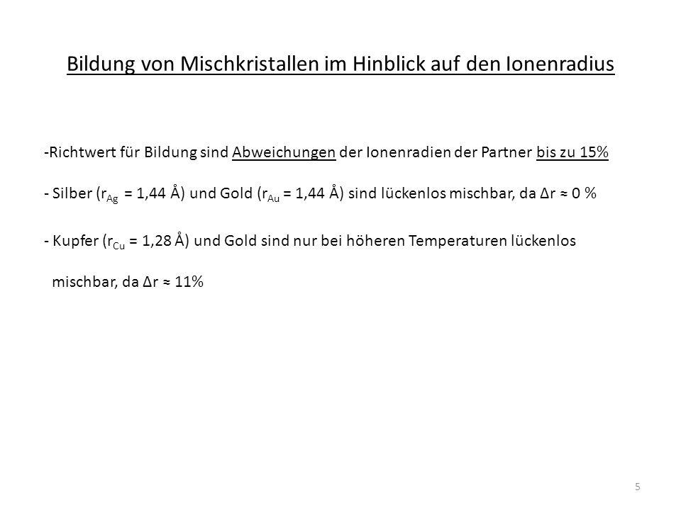 Bildung von Mischkristallen im Hinblick auf den Ionenradius -Richtwert für Bildung sind Abweichungen der Ionenradien der Partner bis zu 15% - Silber (r Ag = 1,44 Å) und Gold (r Au = 1,44 Å) sind lückenlos mischbar, da Δr 0 % - Kupfer (r Cu = 1,28 Å) und Gold sind nur bei höheren Temperaturen lückenlos mischbar, da Δr 11% 5