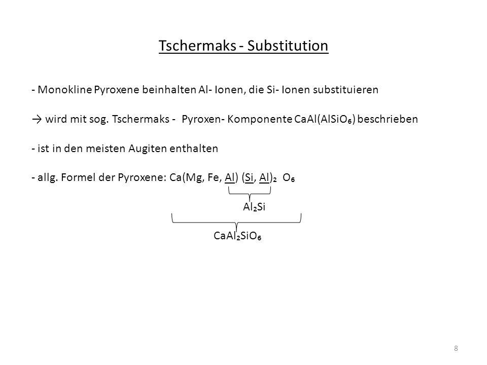 Tschermaks - Substitution - Monokline Pyroxene beinhalten Al- Ionen, die Si- Ionen substituieren wird mit sog. Tschermaks - Pyroxen- Komponente CaAl(A