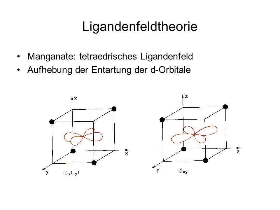 Manganate: tetraedrisches Ligandenfeld Aufhebung der Entartung der d-Orbitale Ligandenfeldtheorie