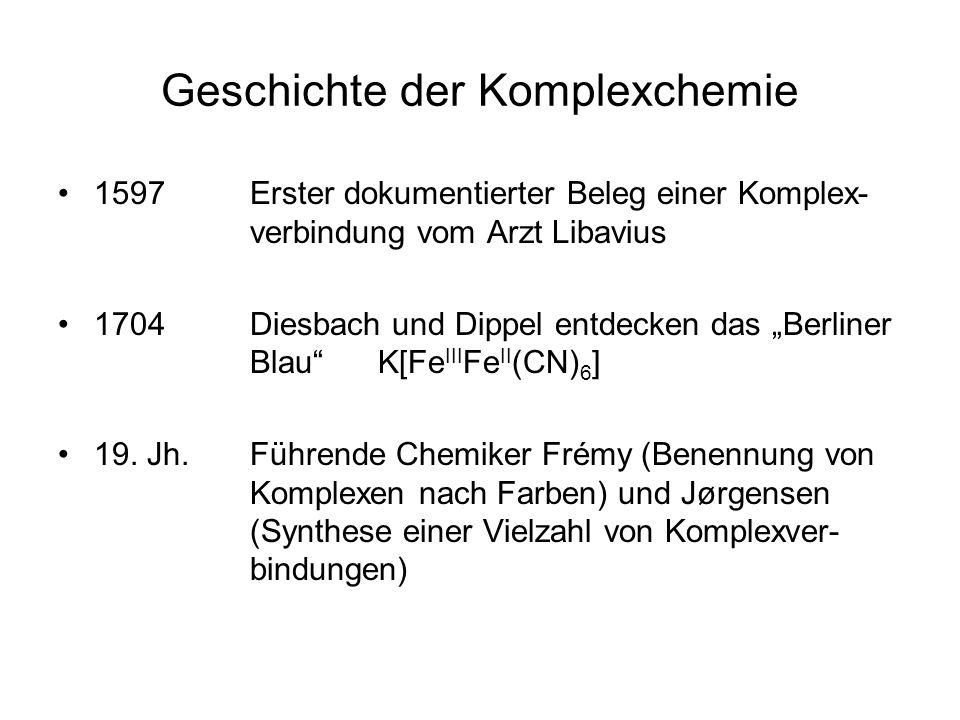 Geschichte der Komplexchemie 1597 Erster dokumentierter Beleg einer Komplex- verbindung vom Arzt Libavius 1704 Diesbach und Dippel entdecken das Berliner Blau K[Fe III Fe II (CN) 6 ] 19.