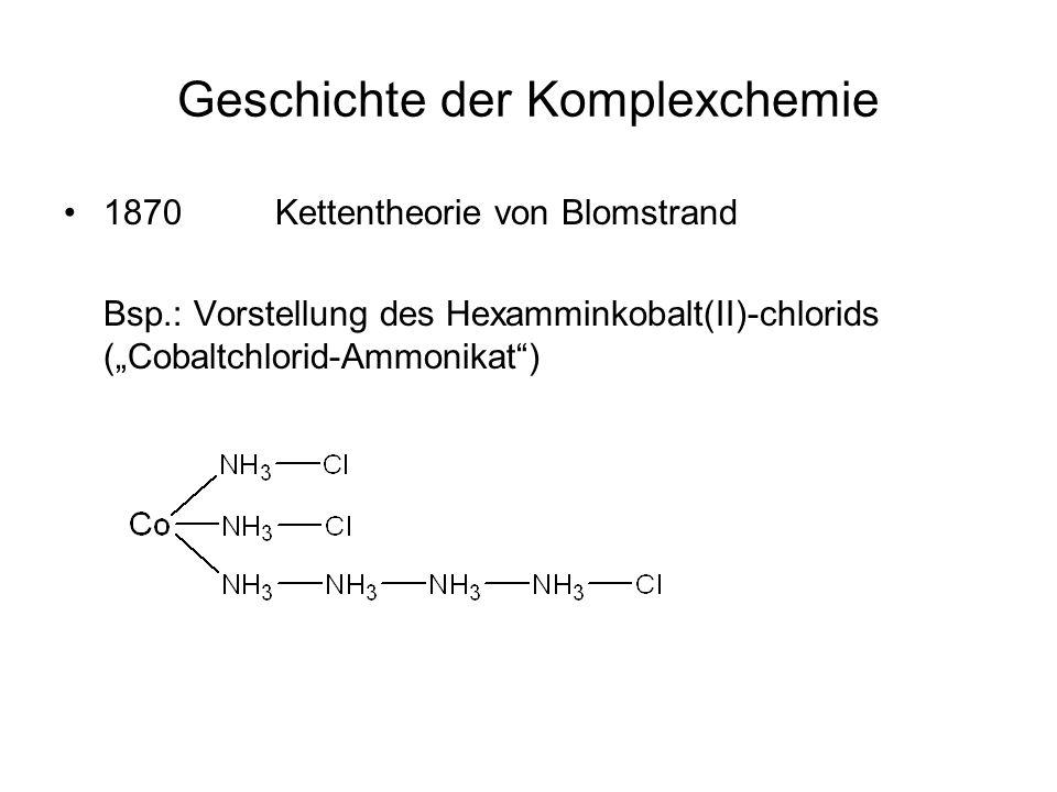 Geschichte der Komplexchemie 1870 Kettentheorie von Blomstrand Bsp.: Vorstellung des Hexamminkobalt(II)-chlorids (Cobaltchlorid-Ammonikat)