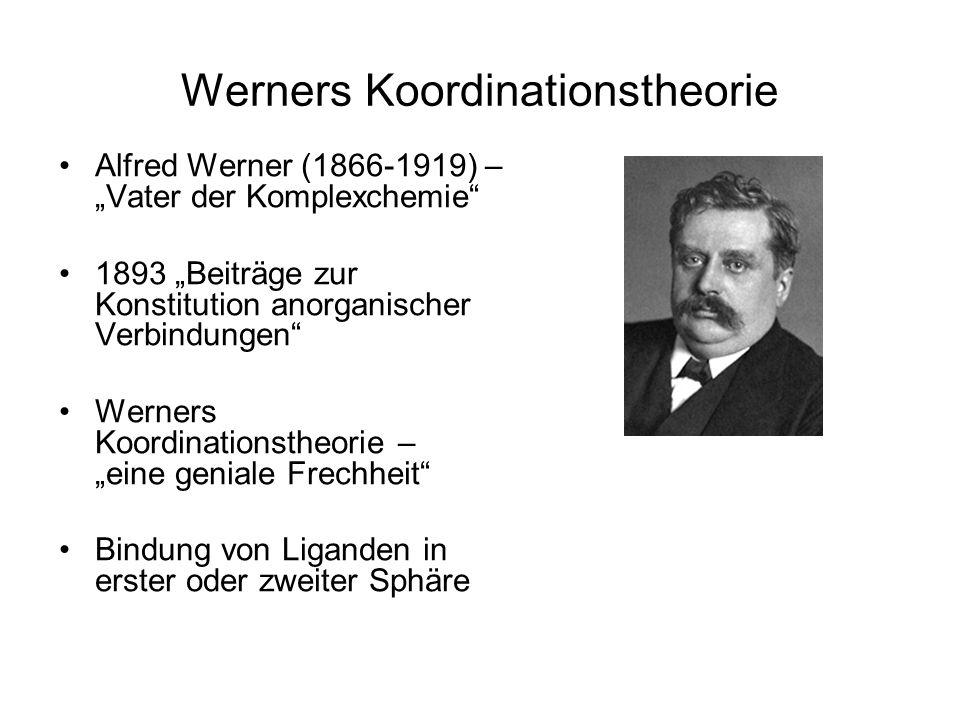 Werners Koordinationstheorie Alfred Werner (1866-1919) – Vater der Komplexchemie 1893 Beiträge zur Konstitution anorganischer Verbindungen Werners Koordinationstheorie – eine geniale Frechheit Bindung von Liganden in erster oder zweiter Sphäre