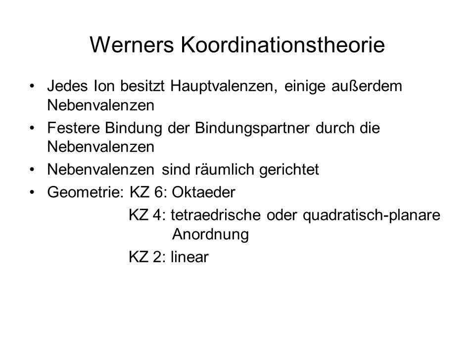 Werners Koordinationstheorie Jedes Ion besitzt Hauptvalenzen, einige außerdem Nebenvalenzen Festere Bindung der Bindungspartner durch die Nebenvalenzen Nebenvalenzen sind räumlich gerichtet Geometrie: KZ 6: Oktaeder KZ 4: tetraedrische oder quadratisch-planare Anordnung KZ 2: linear