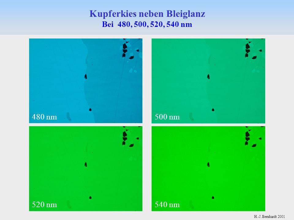 H.-J. Bernhardt 2001 Kupferkies neben Bleiglanz Bei 480, 500, 520, 540 nm 480 nm500 nm 520 nm540 nm