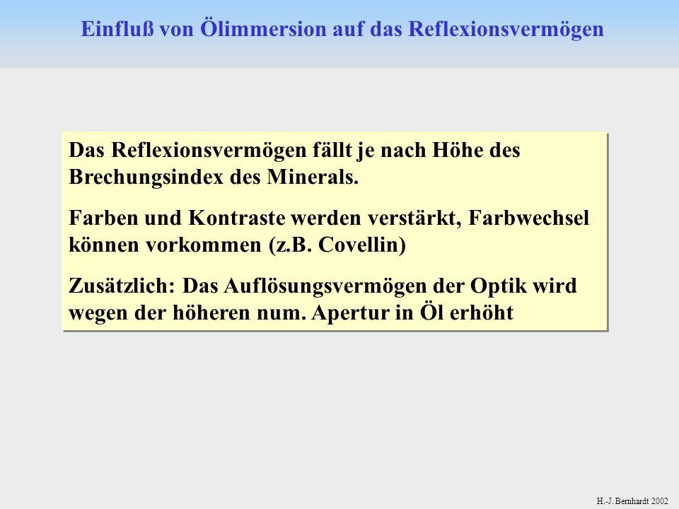 H.-J. Bernhardt 2002 Einfluß von Ölimmersion auf das Reflexionsvermögen Das Reflexionsvermögen fällt je nach Höhe des Brechungsindex des Minerals. Far
