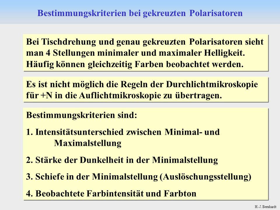 H.-J. Bernhardt Bei Tischdrehung und genau gekreuzten Polarisatoren sieht man 4 Stellungen minimaler und maximaler Helligkeit. Häufig können gleichzei