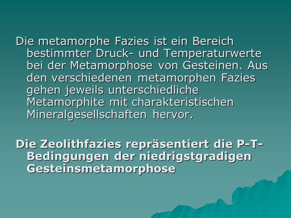 Die metamorphe Fazies ist ein Bereich bestimmter Druck- und Temperaturwerte bei der Metamorphose von Gesteinen. Aus den verschiedenen metamorphen Fazi