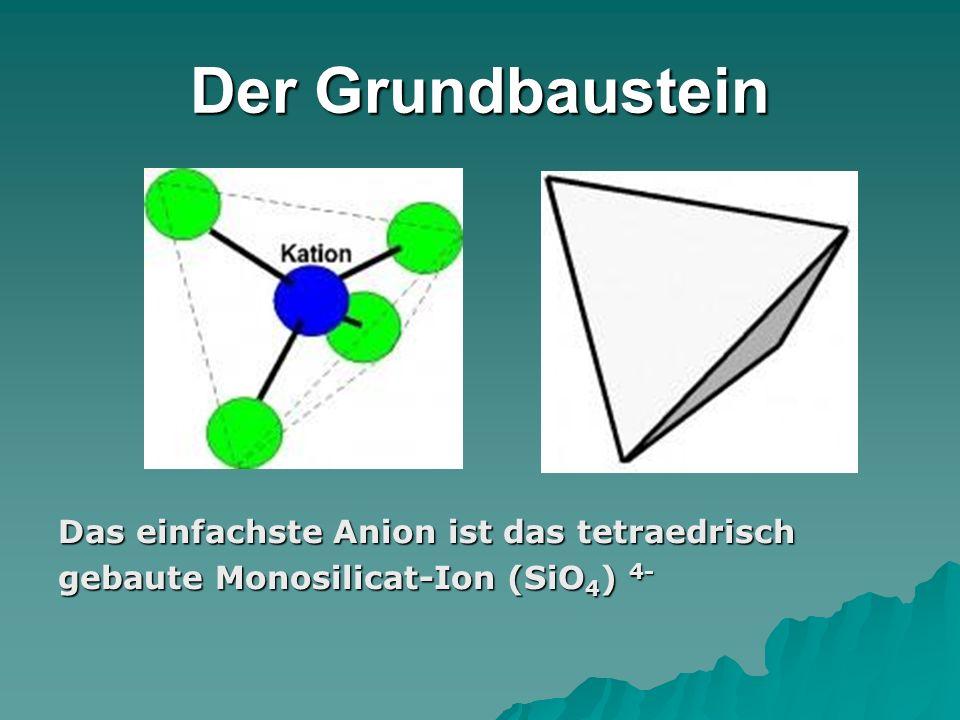 Der Grundbaustein Das einfachste Anion ist das tetraedrisch gebaute Monosilicat-Ion (SiO 4 ) 4-