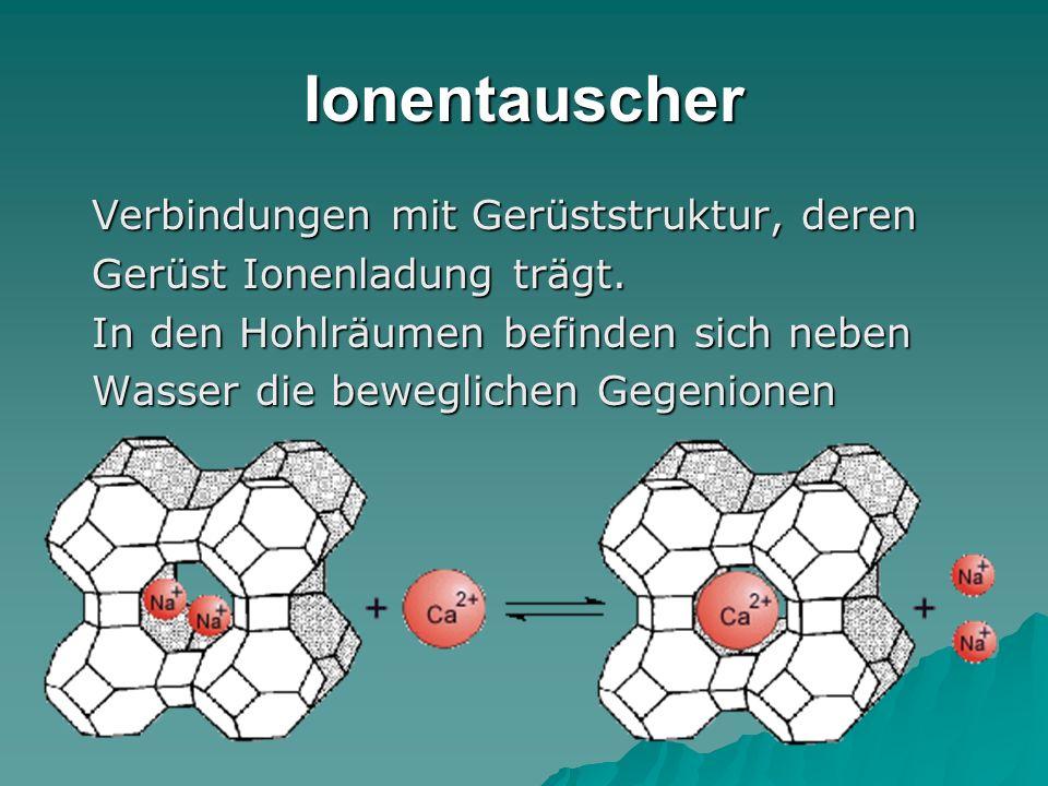 Ionentauscher Verbindungen mit Gerüststruktur, deren Verbindungen mit Gerüststruktur, deren Gerüst Ionenladung trägt. Gerüst Ionenladung trägt. In den
