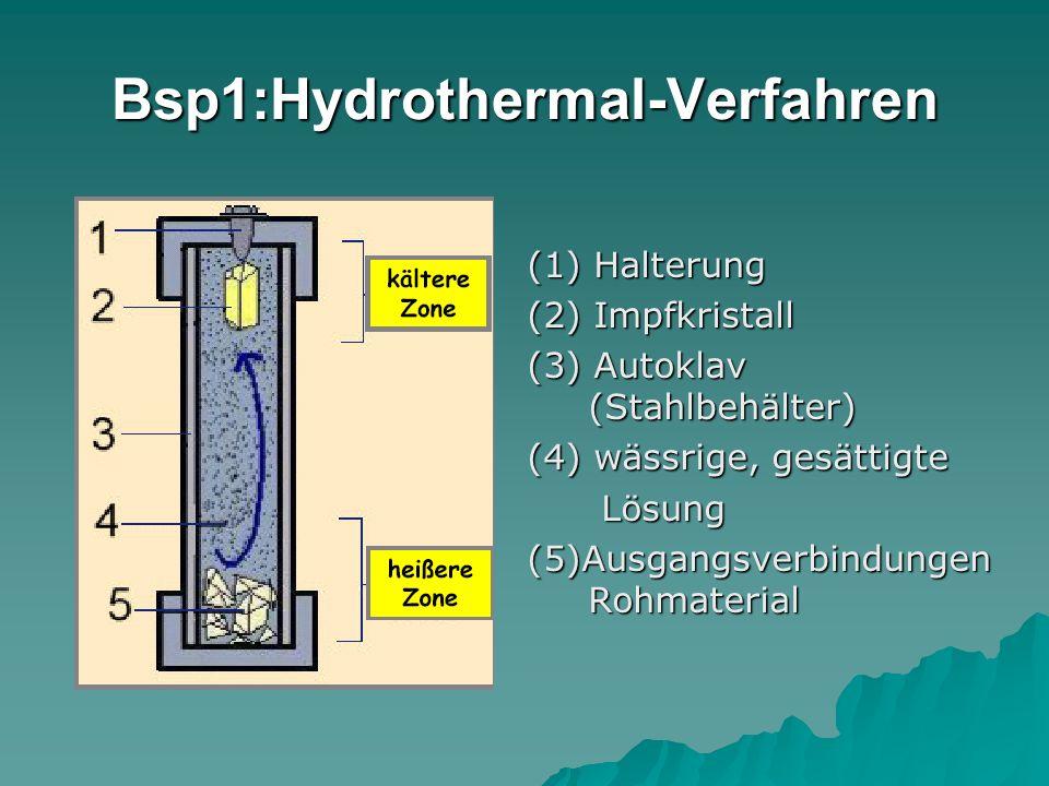 Bsp1:Hydrothermal-Verfahren (1) Halterung (2) Impfkristall (3) Autoklav (Stahlbehälter) (4) wässrige, gesättigte Lösung Lösung (5)Ausgangsverbindungen