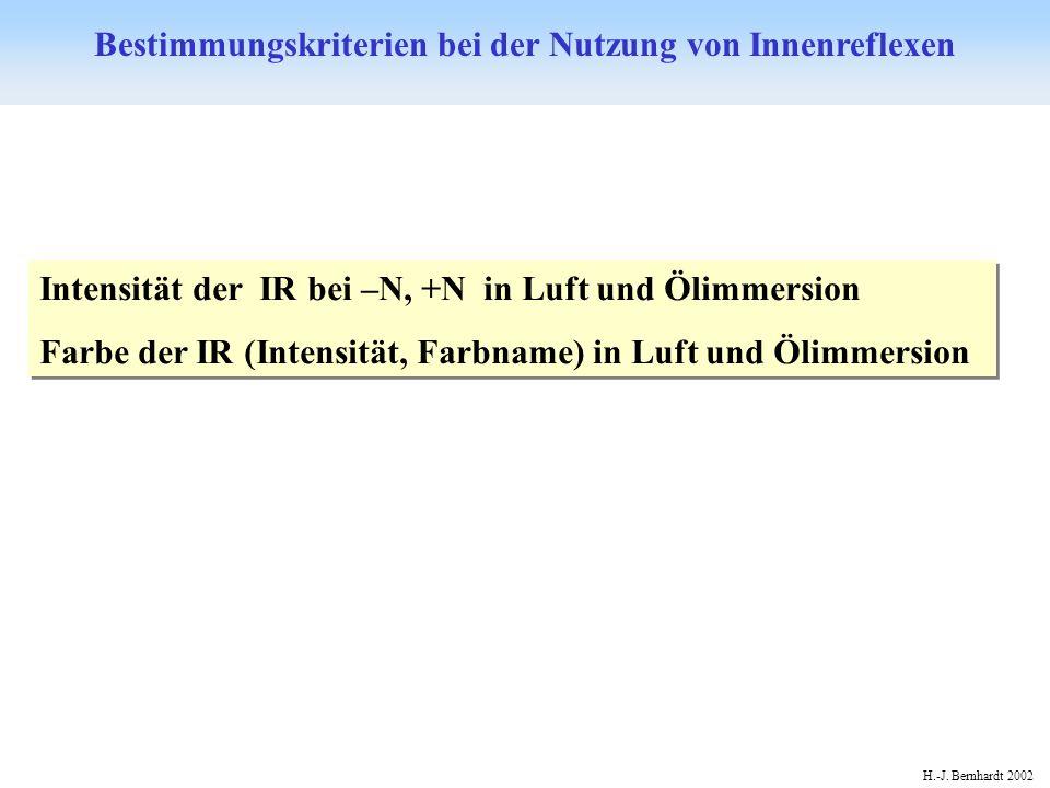 H.-J. Bernhardt 2002 Bestimmungskriterien bei der Nutzung von Innenreflexen Intensität der IR bei –N, +N in Luft und Ölimmersion Farbe der IR (Intensi