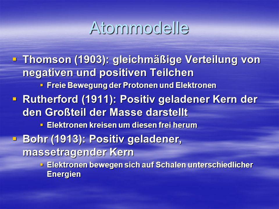 Atommodelle Thomson (1903): gleichmäßige Verteilung von negativen und positiven Teilchen Thomson (1903): gleichmäßige Verteilung von negativen und pos