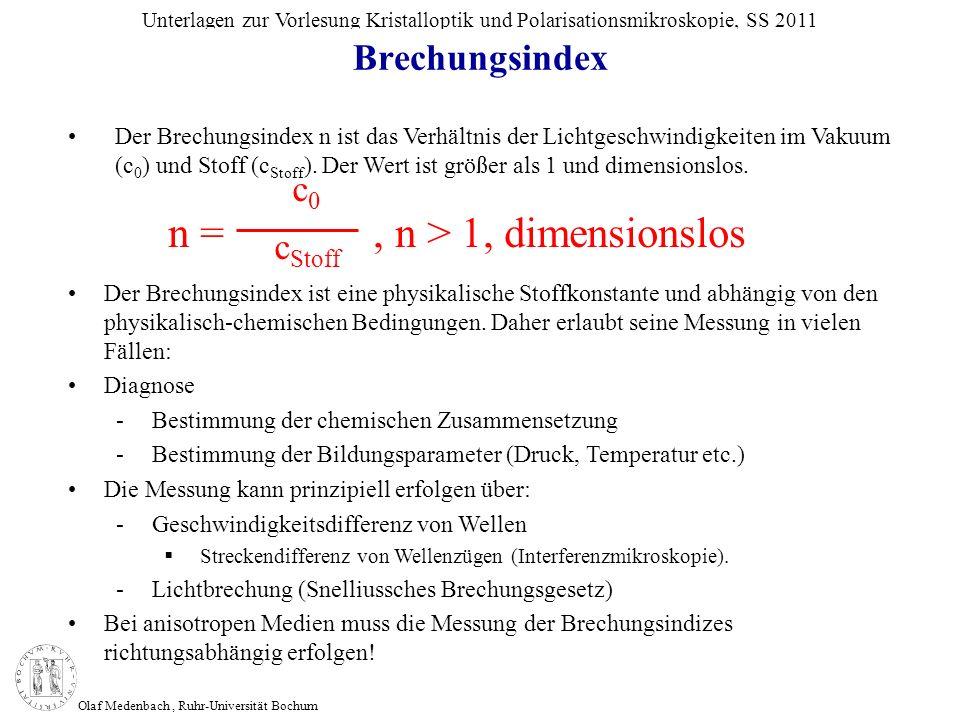 Olaf Medenbach, Ruhr-Universität Bochum Unterlagen zur Vorlesung Kristalloptik und Polarisationsmikroskopie, SS 2011 Brechungsindex n =, n > 1, dimens