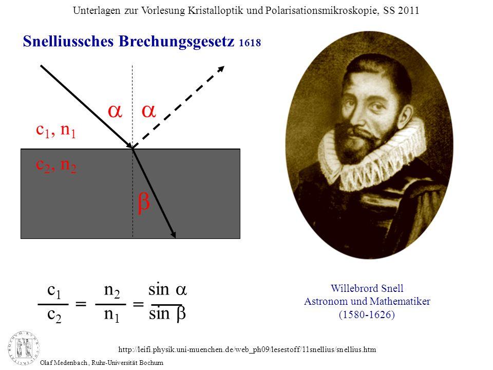 Olaf Medenbach, Ruhr-Universität Bochum Unterlagen zur Vorlesung Kristalloptik und Polarisationsmikroskopie, SS 2011 Willebrord Snell Astronom und Mat