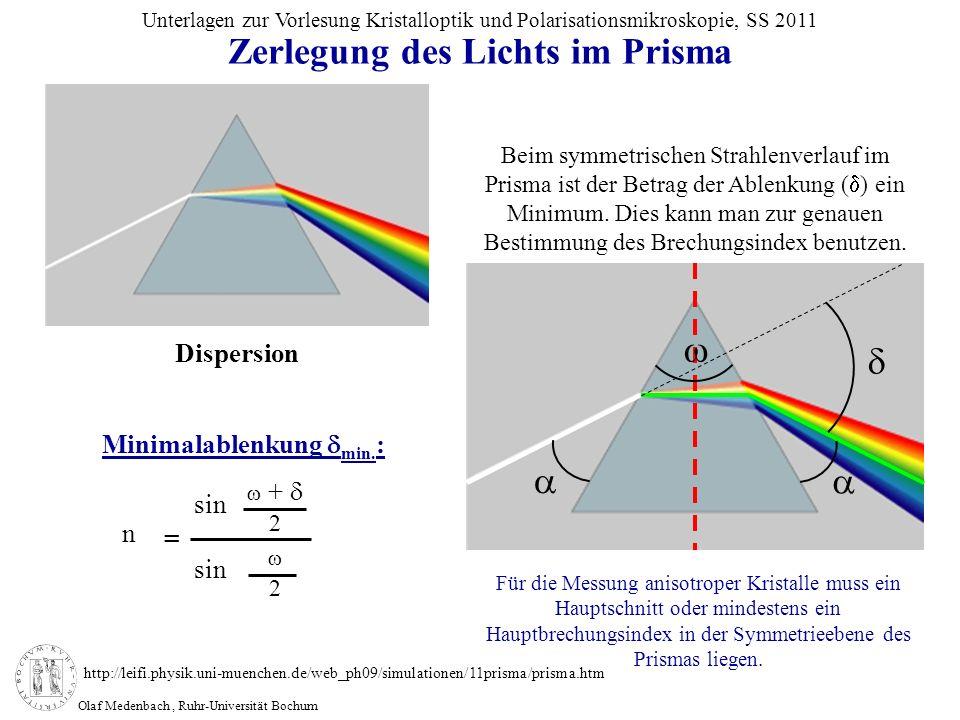 Olaf Medenbach, Ruhr-Universität Bochum Unterlagen zur Vorlesung Kristalloptik und Polarisationsmikroskopie, SS 2011 Zerlegung des Lichts im Prisma +