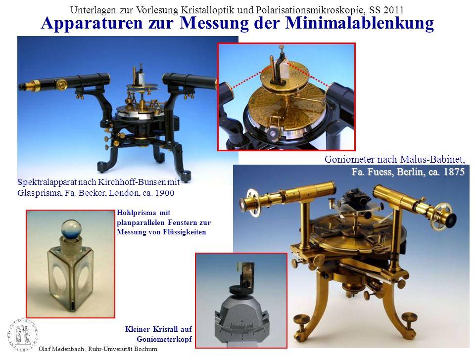 Olaf Medenbach, Ruhr-Universität Bochum Unterlagen zur Vorlesung Kristalloptik und Polarisationsmikroskopie, SS 2011 Spektralapparat nach Kirchhoff-Bu
