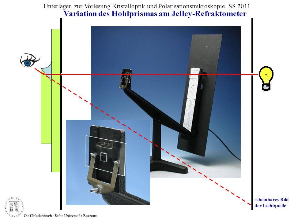 Olaf Medenbach, Ruhr-Universität Bochum Unterlagen zur Vorlesung Kristalloptik und Polarisationsmikroskopie, SS 2011 Variation des Hohlprismas am Jell